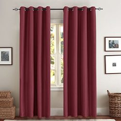 Blackout Curtains for Bedroom Window Treatment Set Faux Silk Satin Thermal Insulated Room Darken ...