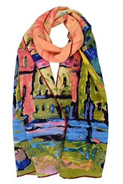 Luxurious 100% Charmeuse Silk Long Scarf Wassily Kandinsky Houses in Munich