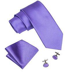 Barry.Wang Mens Tie Set Violet Purple Neckties Plain Silk Ties