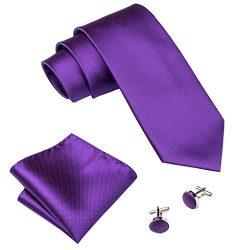Barry.Wang Tie Set Purple Solid Color Groomsmen Necktie