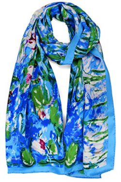 ELEGNA Women 100% Silk Art Collection Scarves (Claude Monet Water Lilies)