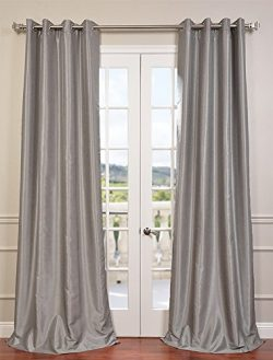 Half Price Drapes PDCH-KBS9-96-GRBO Grommet Blackout Vintage Textured Faux Dupioni Silk Curtain, ...