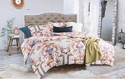 Aivedo Cotton Printing Pastoral Style Duvet Cover Set, 3 Piece Bedding Set, King Size