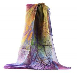 Jocelyn Nord Womens Genuine Silk Long Scarf 100% Mulberry Silk (purple)