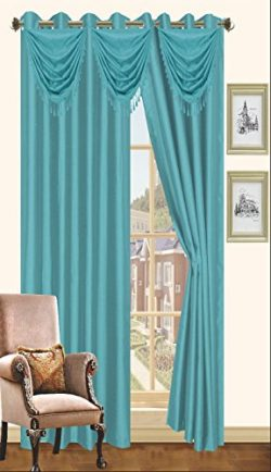 Blue Faux Silk Window Curtain Panel 8 Grommets Curtains – 57″X90″, Honey