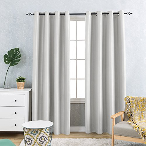 Faux Silk Blackout Curtains for Bedroom Luxury Anti bacteria Dupioni Drapes Grommets Top (set of ...