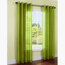 Gorgeous Home 1PC LIME GREEN 55″ WIDE X 108″ LONG FAUX SILK GROMMET WINDOW PANEL CUR ...