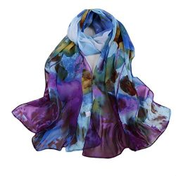 Siniao Women's Long printing Soft Wrap Lady Shawl Silk Chiffon Scarf Scarves