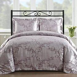 Comfy Bedding Silk Feel Cotton Blend 450 TC 3-piece Duvet Cover Set (Queen, Lavender)