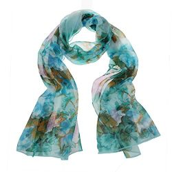 ChikaMika Fashion Scarves for Women Cyan Peony Floral Scarf Light Weight Chiffon Scarves