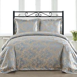 Comfy Bedding Silk Feel Cotton Blend 450 TC 3-piece Duvet Cover Set (Queen, Blue)