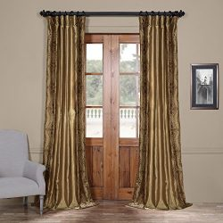 Half Price Drapes EFSCH-20134G1-84 Embroidered Faux Silk Curtain, Chai
