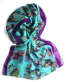 Z&HTrends Womens Genuine Silk Scarf (Small, Teal/Purple Butterflies)