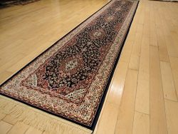 Luxury Persian Silk Navy Rug 2×8 Traditional Runner Navy Blue Rug Kitchen Narrow Runners 2& ...