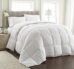 ULTRA WARMTH White Down Alternative Comforter w/ Space Saver Storage Bag, Duvet Insert, Corner T ...