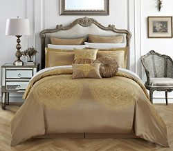 Chic Home 9 Piece Orchard Place Faux Silk Luxury Large Medalion Jacquard with embroidery details ...