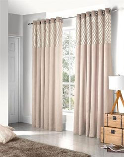 "FAUX SILK CUT VELVET CREAM 90X72"" 229X183CM LINED RING TOP CURTAINS DRAPES"