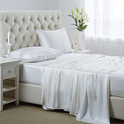 OOSilk 4 Pieces 100% Mulberry Silk Bed Sheet Set Seamless for Full Size Bed, White