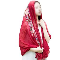 Cotton Linen Silk Scarf Wraps Shawls Women Wine Red Multiple uses