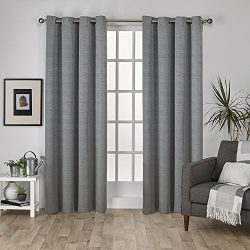 Exclusive Home Curtains Virenze Faux Silk Grommet Top Window Curtain Panel Pair, Silver Cloud, 5 ...