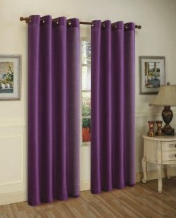 Awad Home Fashion 2 Piece Solid Faux Silk Grommet Window Curtain Treatment Panel Drapes 55&#8243 ...