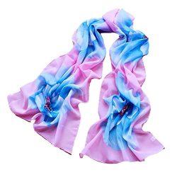 Silk Scarf,Han Shi Women Soft Chiffon Flower Printed Voile Wrap Shawl Muffler Stole (L, Sky Blue)