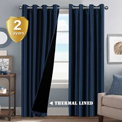 Energy Saving Full Blackout Curtain 2 Panels Thermal Insulated Lined Curtains Nickel Grommet Dec ...