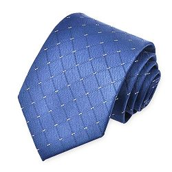 OKISS Men's Tie blue Plaid Necktie Formal Business Ties For Party Suit Necktie Woven Jacqu ...