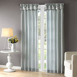 Madison Park Emilia Window Curtain, 50 x 108″, Dusty Aqua