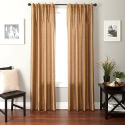 Softline Home Fashions Bergamo Faux Silk Back Tab Window Panel/Curtain/Sheer/Drape, Caramel, 55& ...