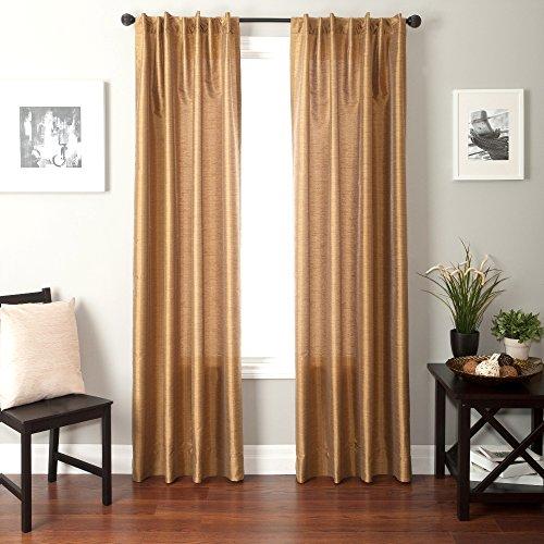 Softline Home Fashions Bergamo Faux Silk Back Tab Window Panel/Curtain/Sheer/Drape, Caramel, 55& ...