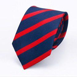 Navy Red Stripe Necktie Textured Satin Silk Tie OKISS Mens Business Neck Tie