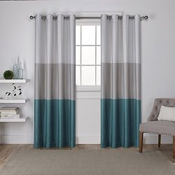 Exclusive Home Curtains Chateau Striped Faux Silk Grommet Top Window Curtain Panel Pair, Teal, 5 ...