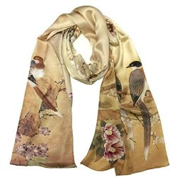 Wrapables Luxurious 100% Charmeuse Silk Long Scarf with Hand Rolled Edges, Swallows