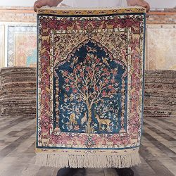 Yilong Carpet 1.5'x2′ Small Hand Knotted Persian Silk Rug Classic Tree of Life Orien ...