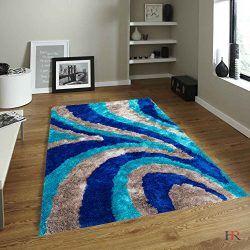 "HR 5ft X 7ft BLUE,SILVER AND NAVY SILK BRIGHT SHAGGY AREA RUG WAVE DESIGN(4.92""X6.83"")"