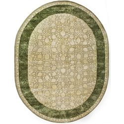 Safavieh Silk Road Collection SKR212A Handmade Ivory and Sage New Zealand Wool Oval Area Rug (7& ...