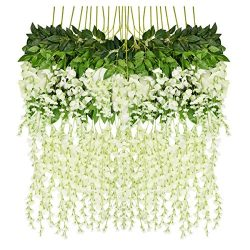 iHomer 12 Piece Artificial Fake Wisteria Vine Rattan, Hanging Silk Flowers String for Home Party ...
