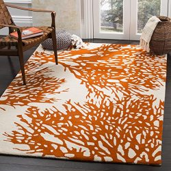 Safavieh Bella Collection BEL115B Handmade Beige and Terracotta Premium Wool Square Area Rug (5& ...