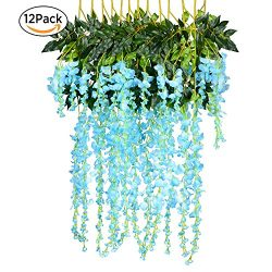 12 Pack 1 Piece 3.6 Feet Artificial Fake Wisteria Vine Ratta Hanging Garland Silk Flowers String ...