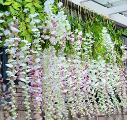 VOVOV 12 Bunch White Artificial Wisteria Vine Ratta Silk Flowers Purple Leaves Home Garden Wall  ...
