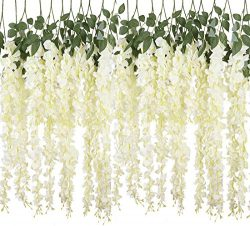 YSBER 6 Piece /12 Piece 3.6 Feet Artificial Fake Wisteria Vine Rattan, Hanging Silk Flowers Stri ...