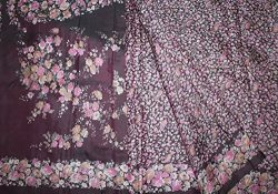Vintage Saree 100% Pure Real Silk Fabric Plum Floral Printed Wrap Curtain Drape Used Crafted Dre ...