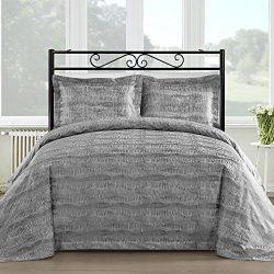Comfy Bedding Silk Feel Cotton Blend 450 TC 3-piece Duvet Cover Set (Queen, Gray)