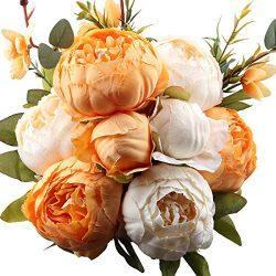 LeagelFake Flowers Vintage Artificial Peony Silk Flowers Bouquet Wedding Home Decoration, Pack  ...