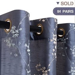 Faux Silk Floral Embroidered Curtains for Bedroom Living Room Drapes, 2 pieces, W54″ x L63 ...