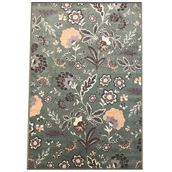 Silk & Sultans Agathe Collection Floral Design, Pet Friendly, Non-Skid Area Rug with Rubber  ...