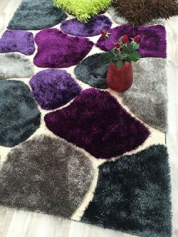 HR 5ft X 7ft SHAGGY RUG.COBBLESTONE DESIGN.PURPLE AND GREY.