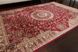 Silk New Shiny Traditional Isphan Ultra Low Pile Area Rug, Garnet Red, 8'3 x 11'5
