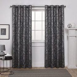 Exclusive Home Curtains Watford Distressed Metallic Print Thermal Grommet Top Window Curtain Pan ...